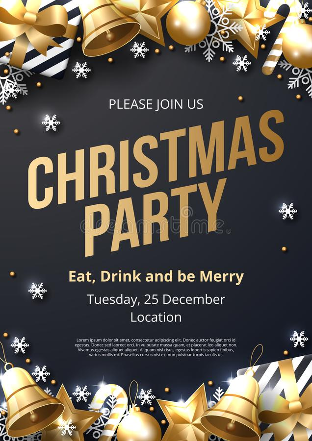 Christmas party poster template with shining gold and white ornaments. Made of snowflakes, gift, candy, bells, star, christmas ball. Vector illustration royalty free illustration