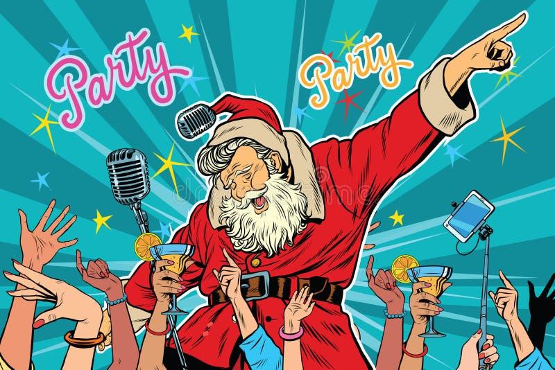 Christmas party Santa Claus singer royalty free illustration