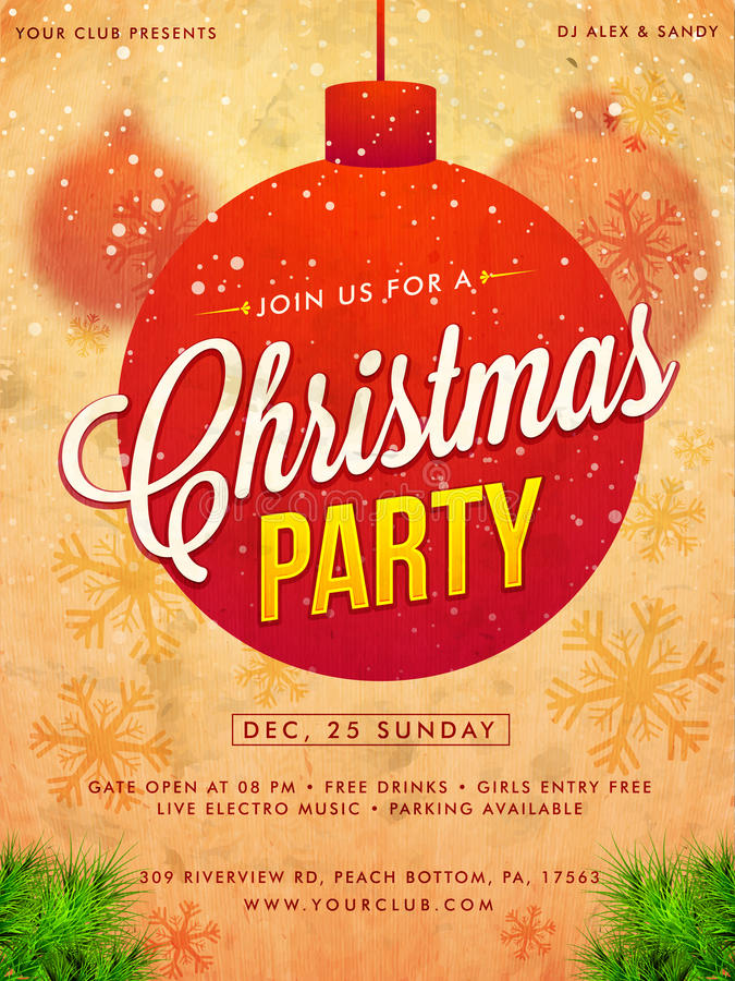 Christmas Party Template, Banner Or Flyer Design. Stock Illustration ...