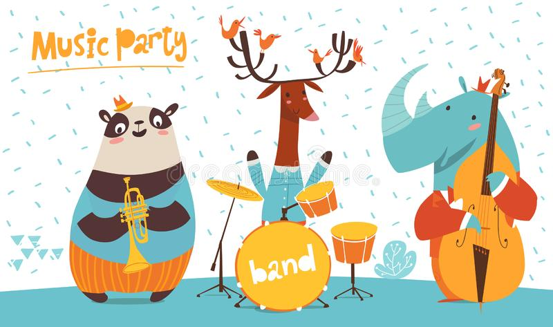 Christmas party vector poster with funny musicians panda, deer and rhino. Christmas music party poster. Vector music poster with cartoon animals musicians royalty free illustration