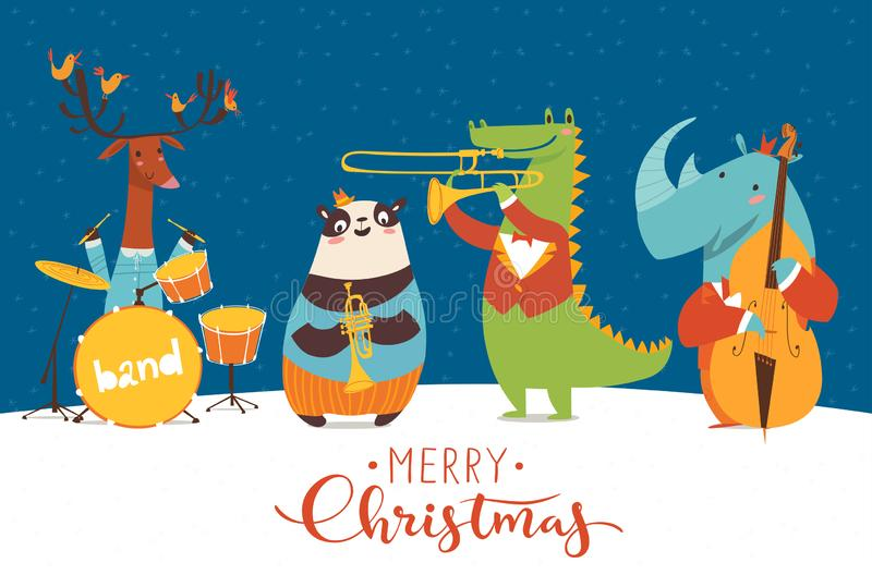 Christmas party vector poster with funny musicians playing in night. Christmas music night party poster. Vector music poster with cartoon animals musicians royalty free illustration