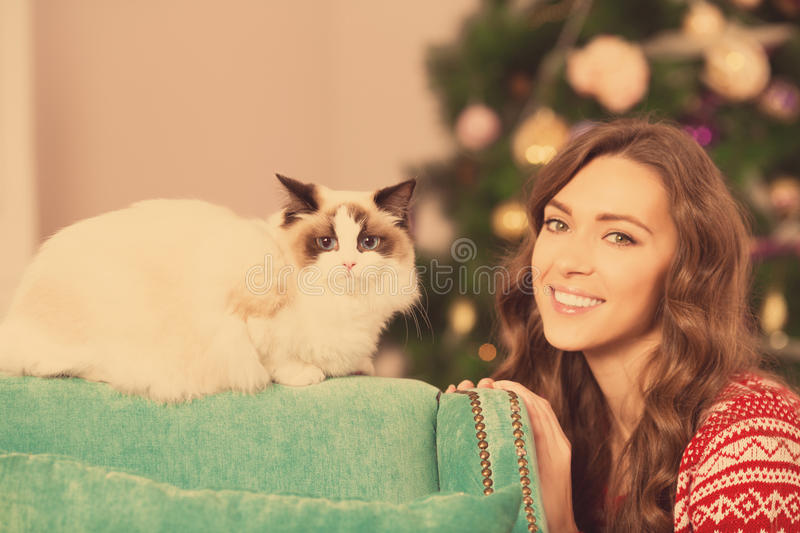 Christmas party, winter holidays woman with cat. New year girl. christmas tree in interior royalty free stock image
