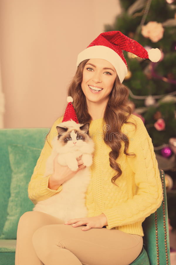 Christmas party, winter holidays woman with cat. New year girl. christmas tree in interior stock image