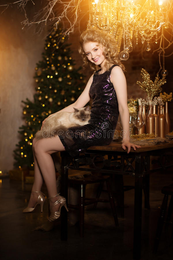 Christmas party, winter holidays woman with cat. New year girl. Christmas tree in interior background royalty free stock image