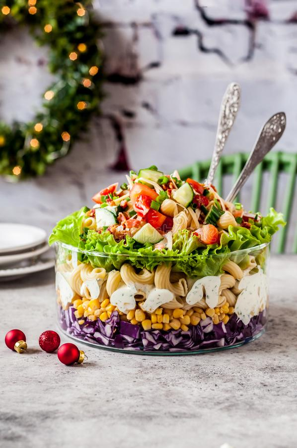 Christmas Pasta Salad royalty free stock photo