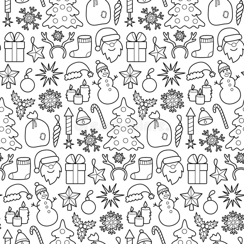 Christmas Patch Seamless Pattern. Pin badges set. Stickers New Year collection. Wallpaper from appliques for denim or clothes. Black and white coloring page vector illustration
