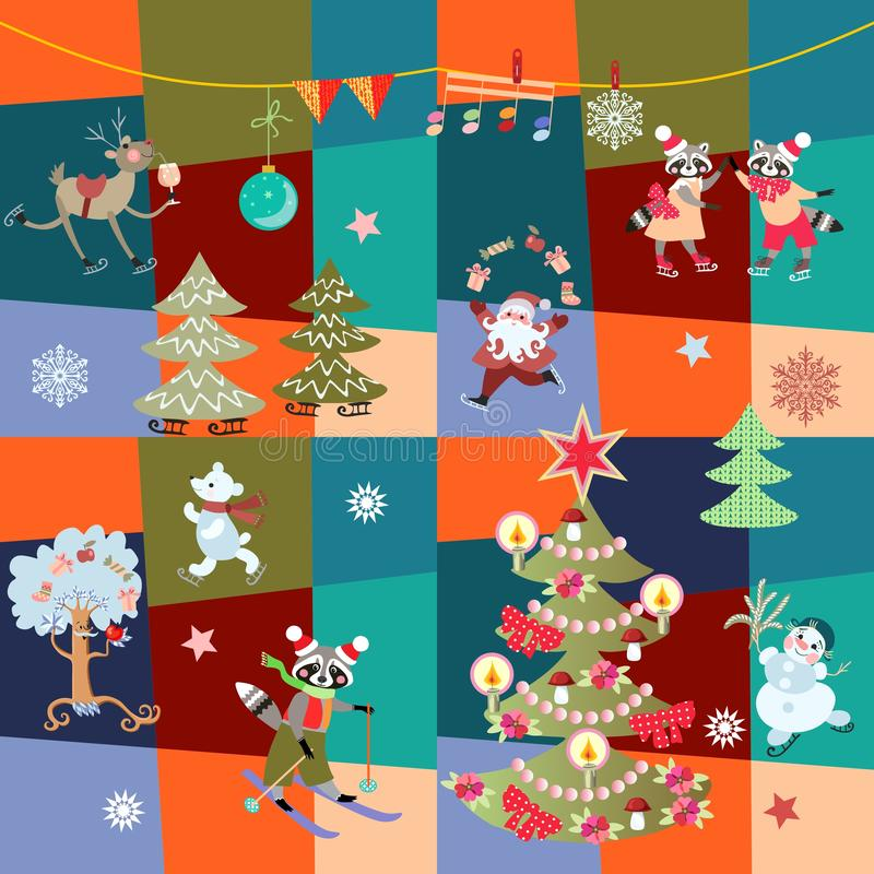 Christmas patchwork pattern with cute cartoon characters in vector.  stock illustration