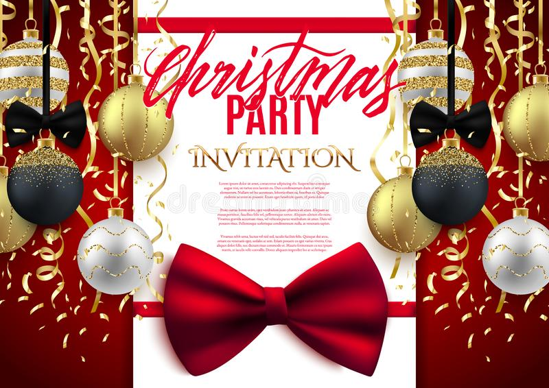Christmas patry poster background design, decorative gold balls. With confetti, vector illustration vector illustration