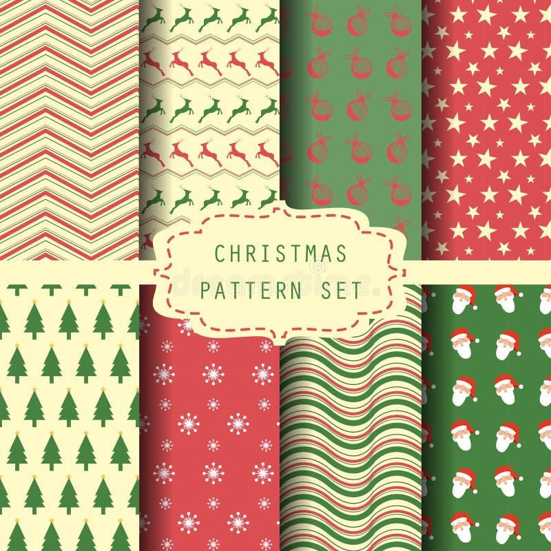 Christmas patten set, vintage and retro style stock illustration
