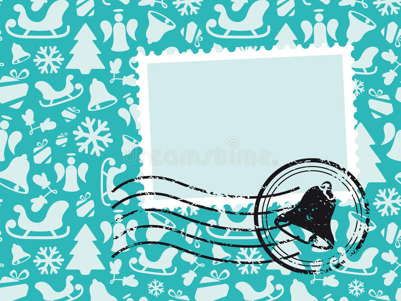 Christmas Pattern Card with Grunge Stamp stock image