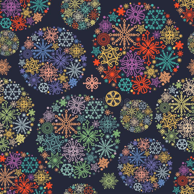 Christmas pattern, colorful snowflakes. In round ornaments royalty free illustration