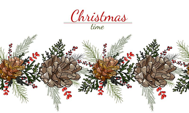 Christmas pattern of cones, leaves and berries on a white background royalty free illustration