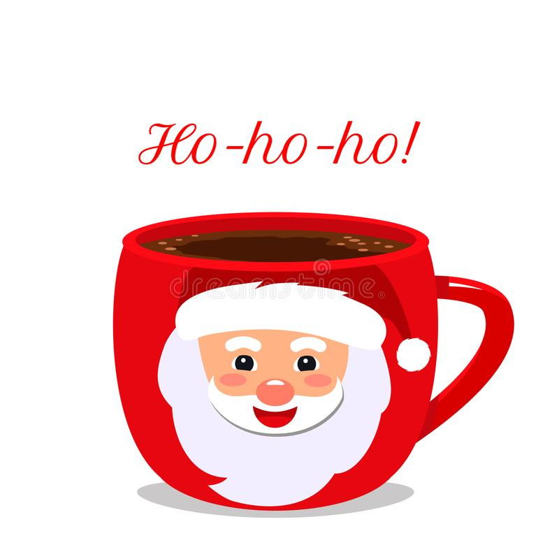 Christmas pattern. A cup of hot chocolate or cocoa, face of Santa Claus and the words Ho-ho-ho! flat vector illustration isolated. Christmas pattern. A cup of stock illustration