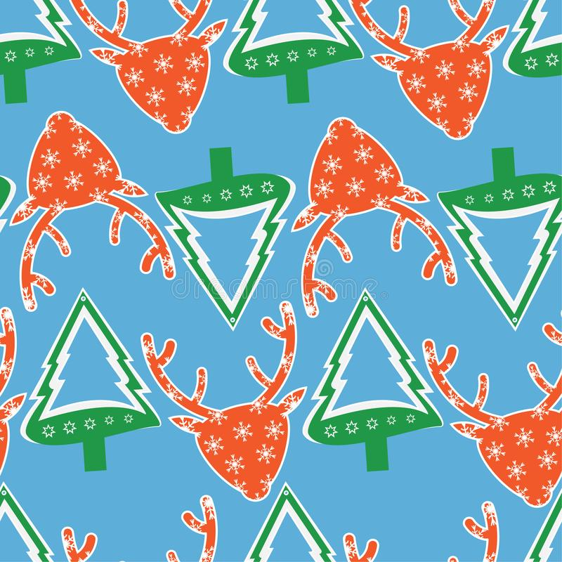 Christmas pattern with deer head and fir tree royalty free stock images