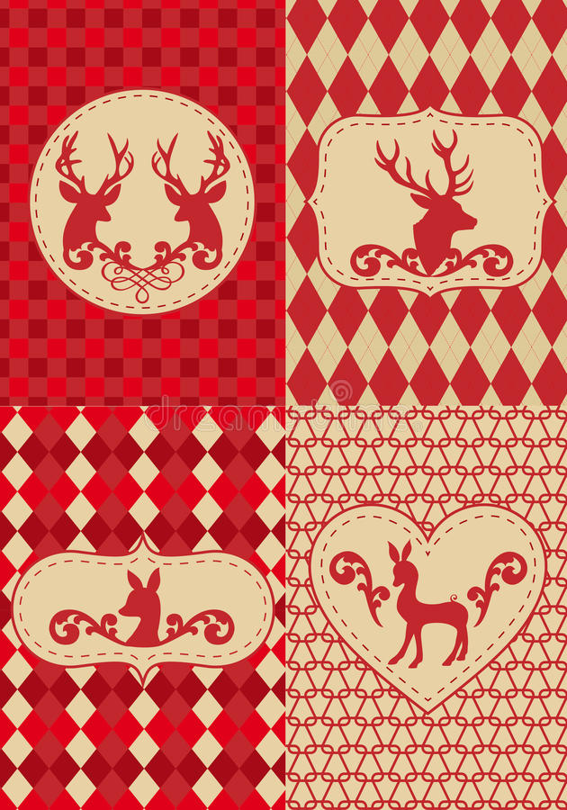 Christmas pattern with deers, vector vector illustration