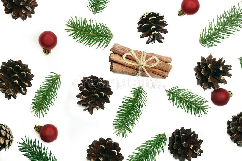 Christmas pattern fir brunches and pine cones on the white background stock images
