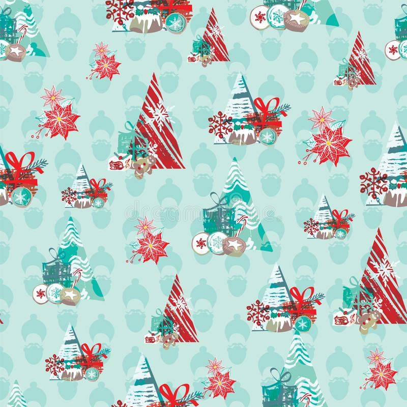 Christmas pattern with food, gifts and abstract Christmas trees. For wrapping paper, cards, invitations, fabric. Seamless vector. Background stock illustration