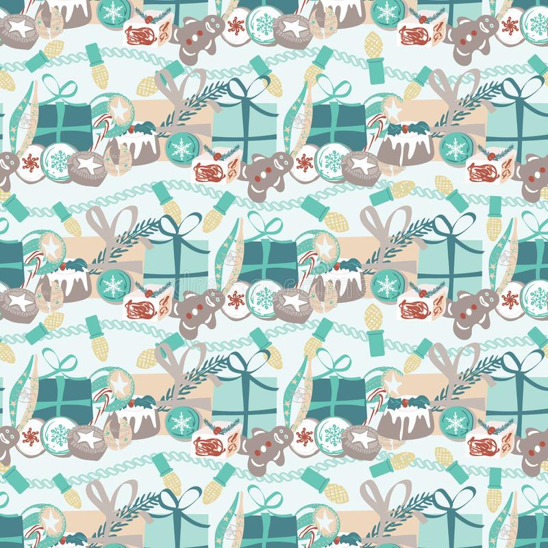 Christmas pattern with food, gifts and Christmas lights. For wrapping paper, cards, invitations, fabric. Seamless vector design. Christmas pattern with food stock illustration