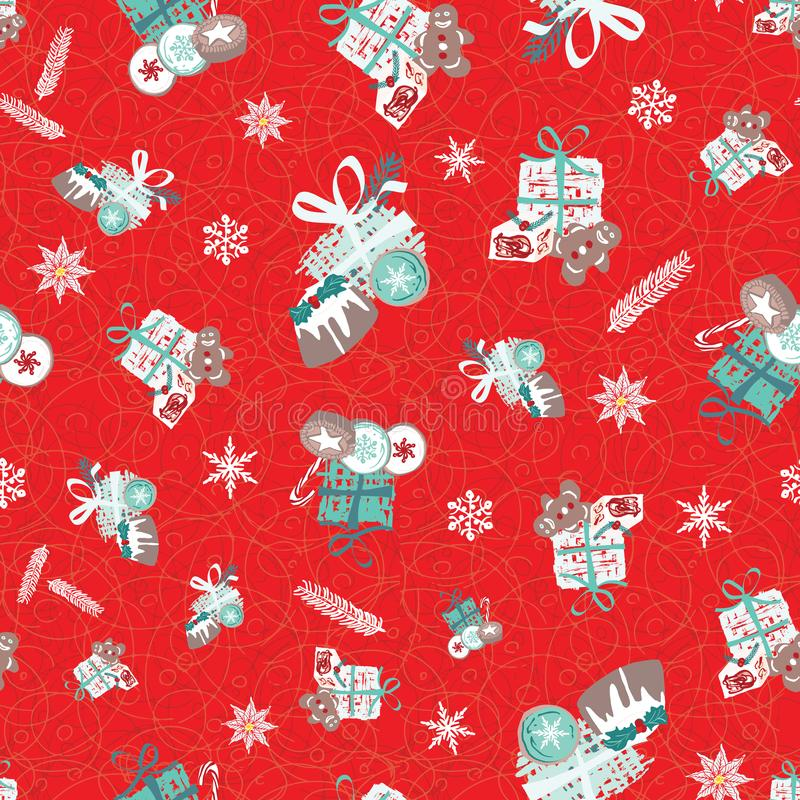 Christmas pattern with food, gifts and snowflakes. For wrapping paper, cards, invitations and fabric. Seamless vector design. Christmas pattern with food, gifts royalty free illustration