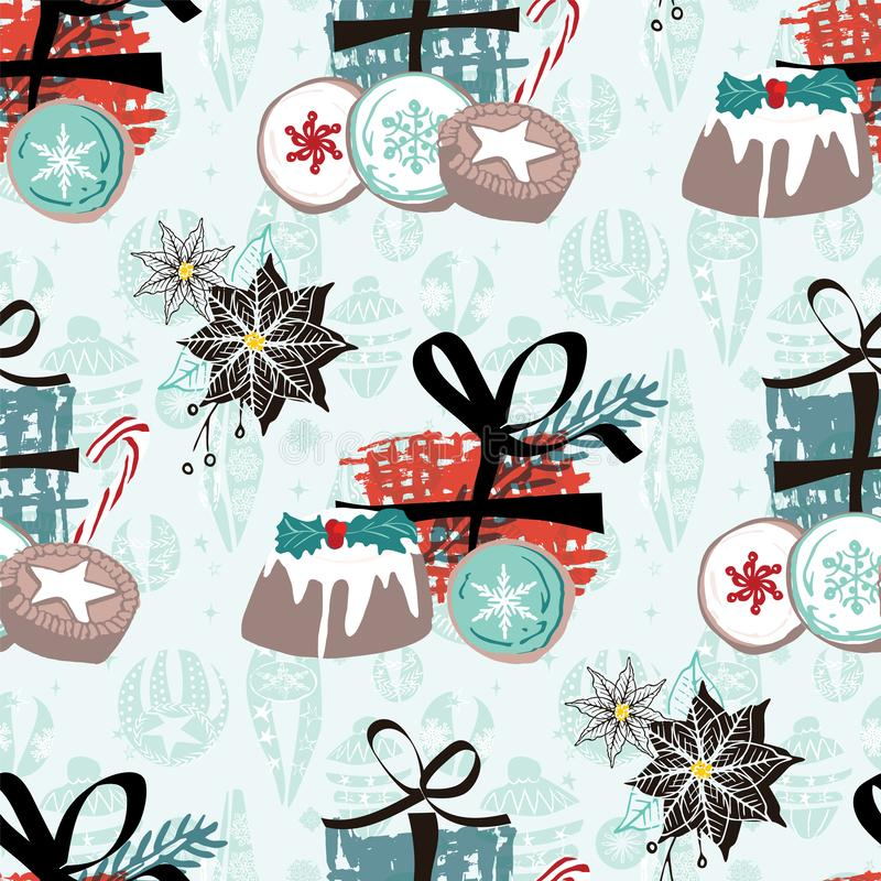 Christmas pattern with food, gifts and vintage ornaments. For wrapping paper, cards, invitations, fabric. Seamless vector print. Christmas pattern with food stock illustration