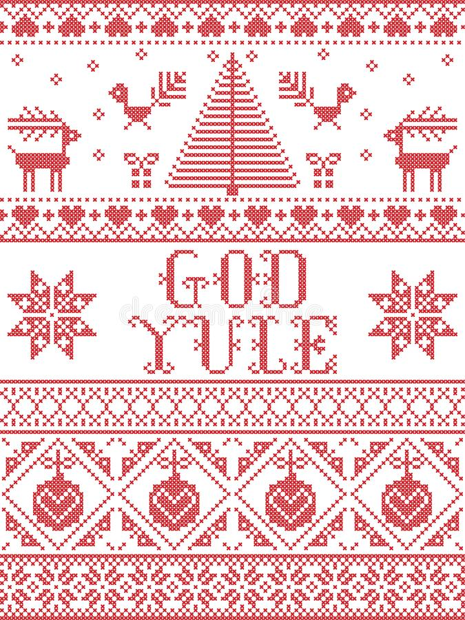 Christmas pattern God Yule seamless pattern inspired by Nordic culture festive winter in cross stitch with heart, snow. Flake, snow ,Christmas tree, reindeer royalty free illustration