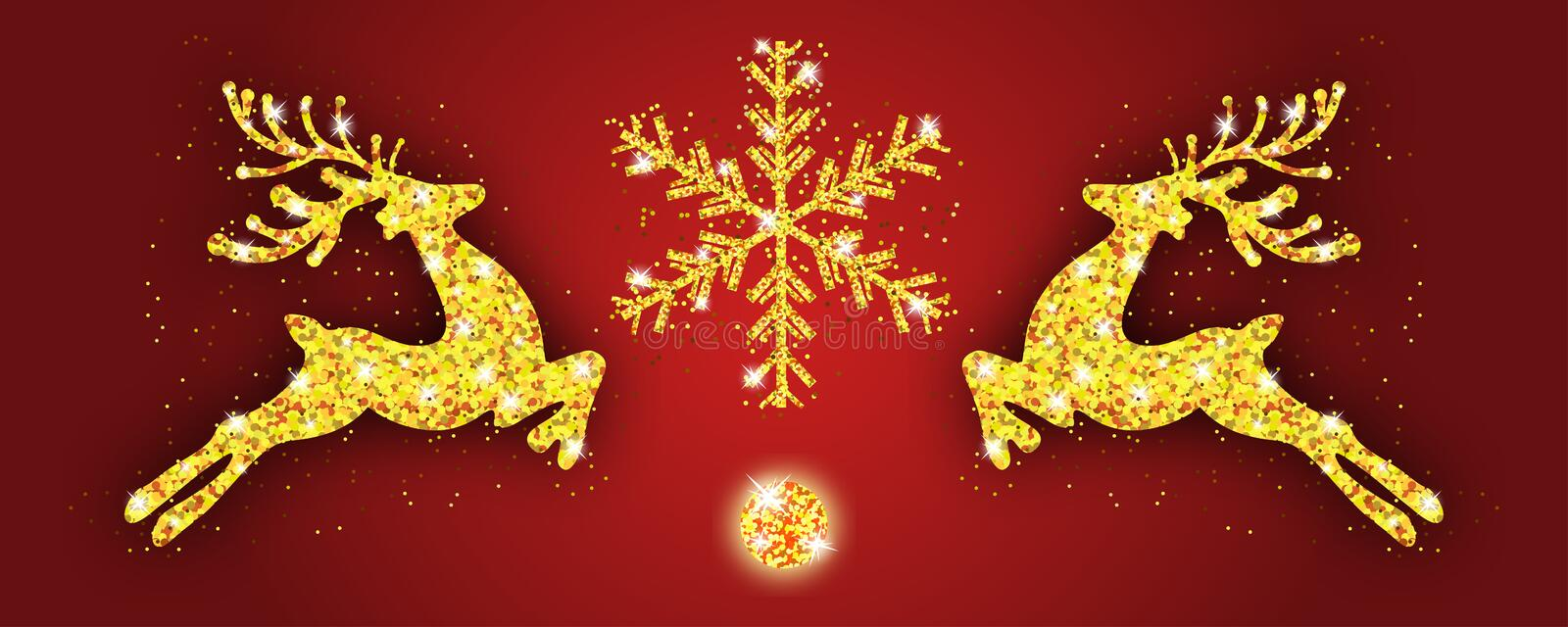 Christmas pattern gold deer and snowflake. Xmas decoration with reindeer. Happy New Year red background. Template for greeting. Card, banner or poster. Vector royalty free illustration