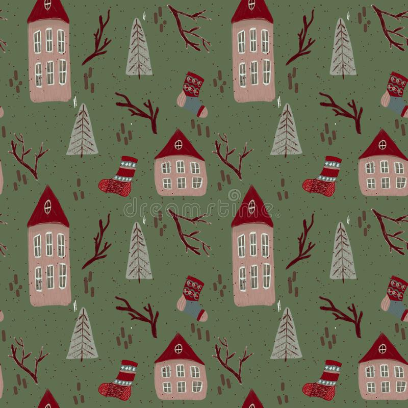 Christmas pattern with houses stock illustration
