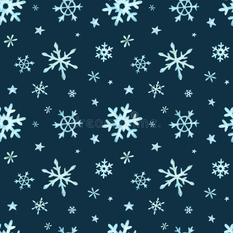 Christmas pattern of light blue falling snowflakes. Winter background. Watercolor Christmas illustration royalty free illustration