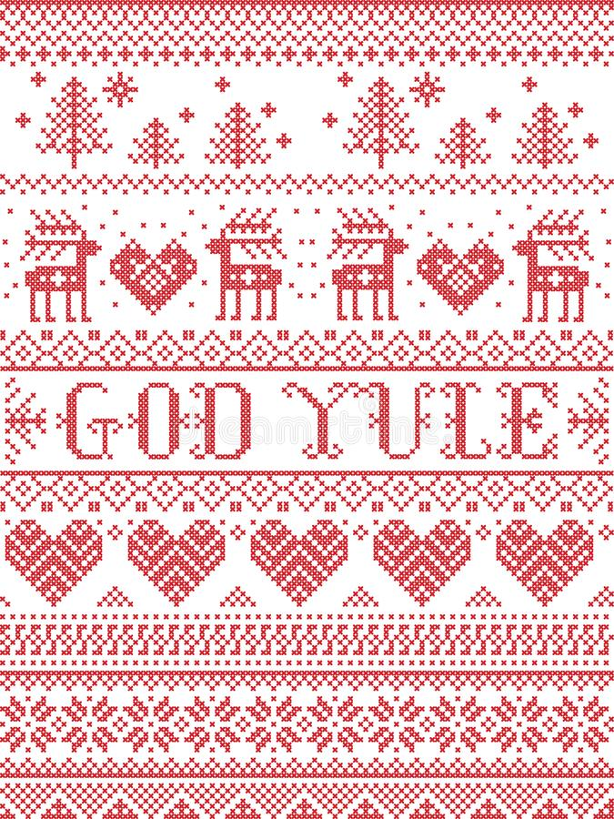 Christmas pattern Merry Christmas in Norwegian God Yule seamless pattern inspired by Nordic culture festive winter in stitc. Christmas pattern Merry Christmas in vector illustration