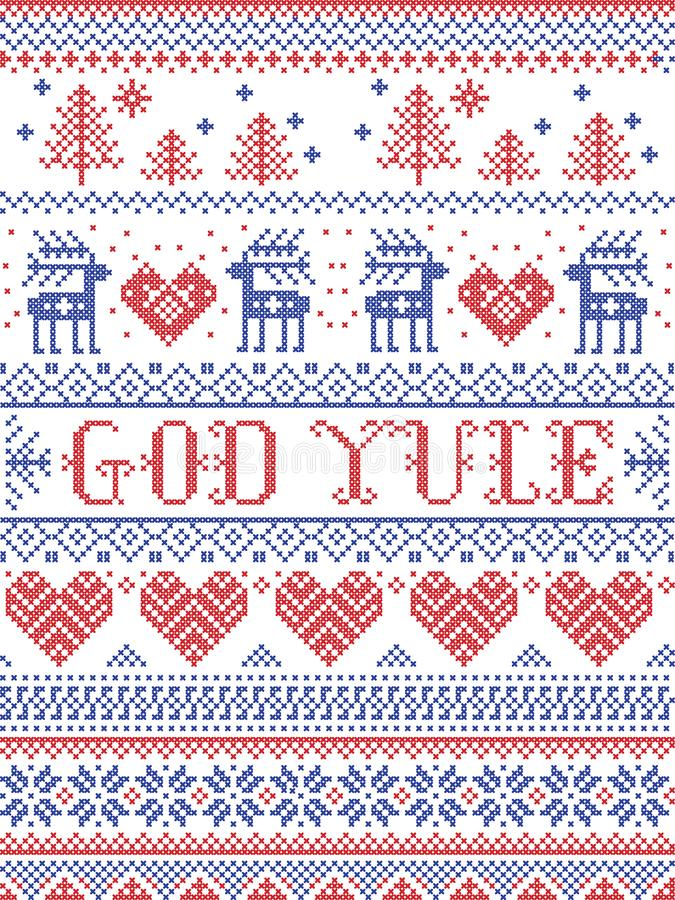 Christmas pattern Merry Christmas in Norwegian God Yule seamless pattern inspired by Nordic culture festive winter stitched. Christmas pattern Merry Christmas in vector illustration