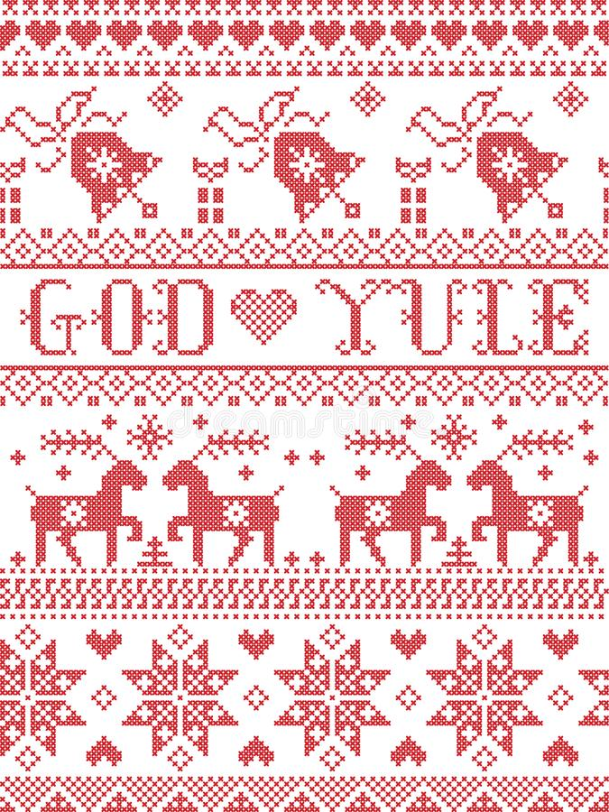 Christmas pattern Merry Christmas in Norwegian God Yule seamless pattern inspired by Nordic culture festive winter stiched stock illustration