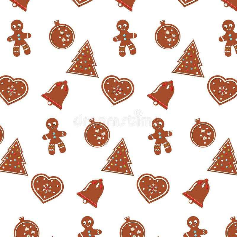 Christmas pattern with new year gingerbread cookies stock illustration