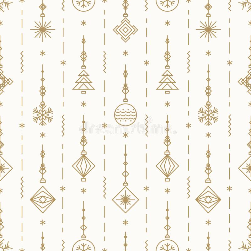 Christmas pattern with new years toy gold color consisting of xmas tree, ball, snowflake vector illustration