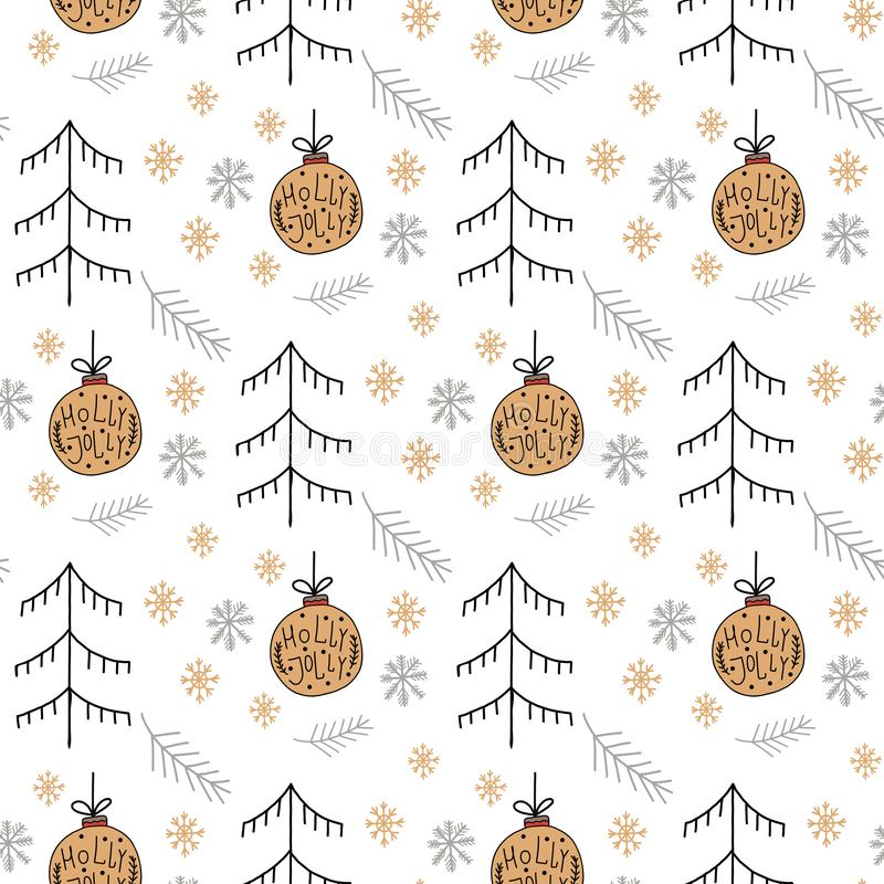 Christmas pattern with new years toy gold color consisting of xmas tree, ball, snowflake art deco line style for poster, sale, royalty free illustration