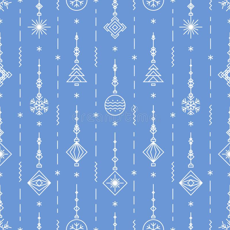 Christmas pattern with new years toy - tree, ball, snowflake art deco line style vector illustration
