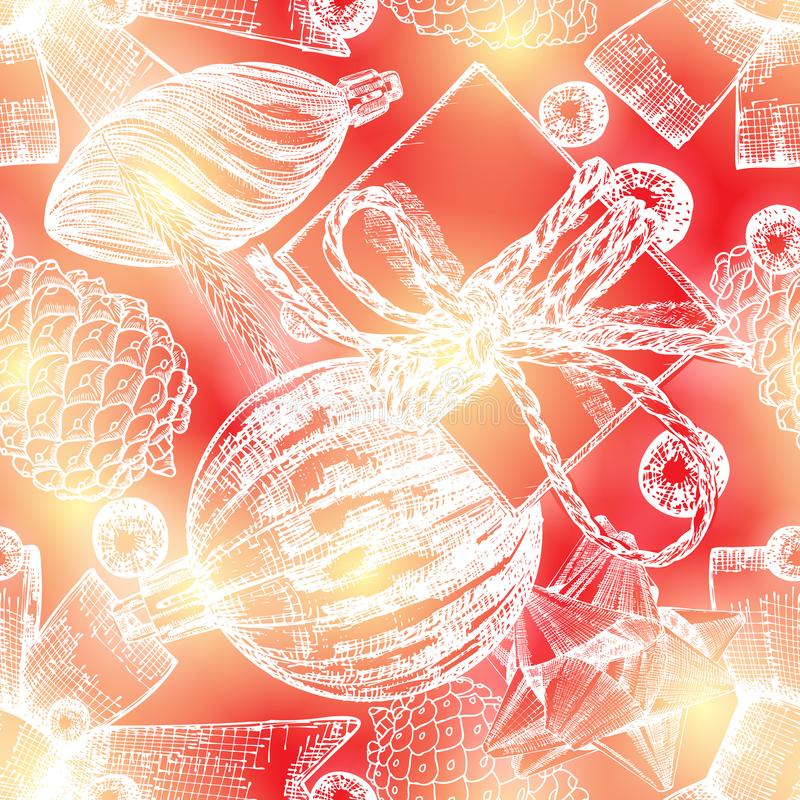 Christmas pattern. Red seamless holiday tile. Hand drawn endless royalty free illustration