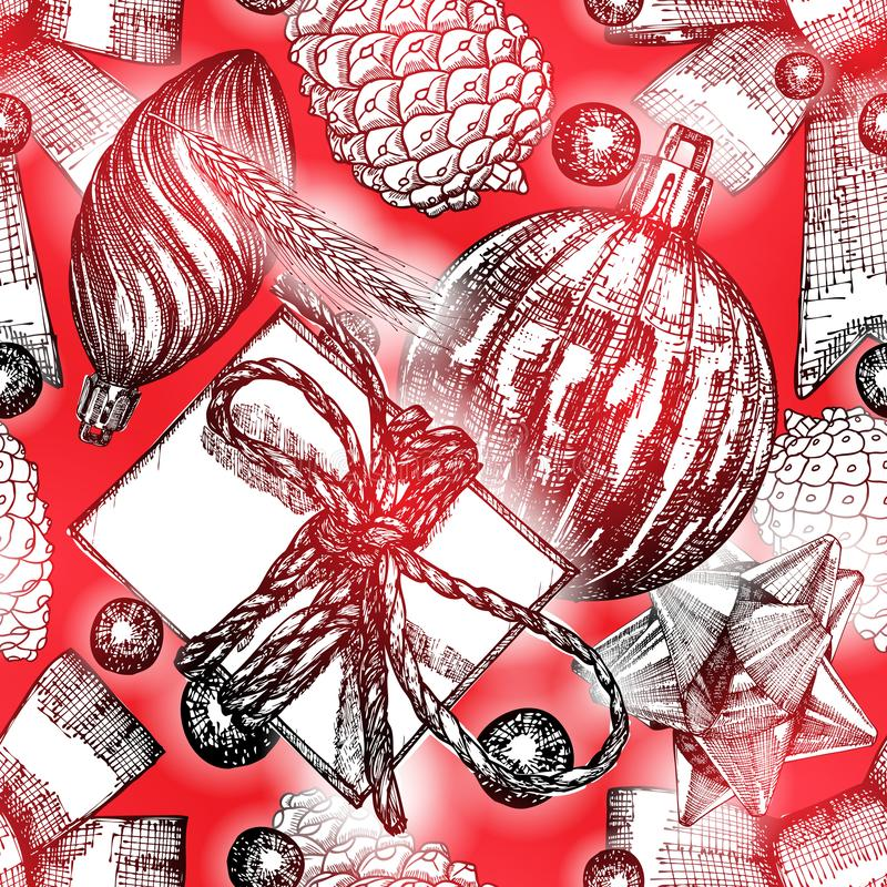 Christmas pattern. Red seamless holiday tile. Hand drawn endless stock illustration