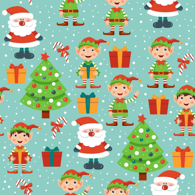 Christmas pattern with Santa,  Christmas tree, gifts and elves stock illustration