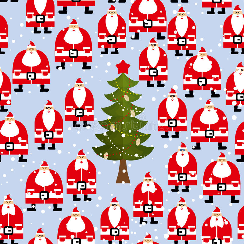 Christmas pattern. Santa Claus and Christmas tree seamless royalty free illustration