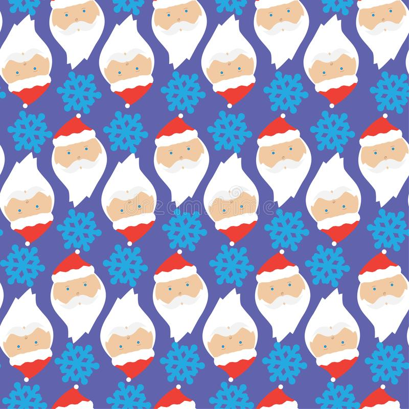Christmas pattern with Santa Claus and snowflakes royalty free stock photography