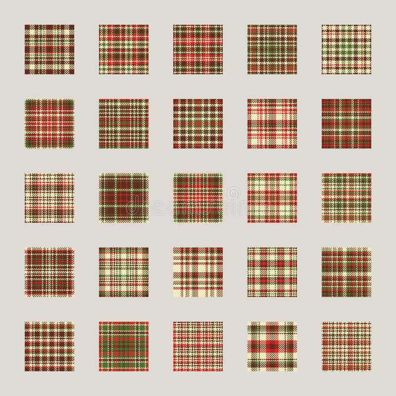 Christmas pattern seamless vector. Check plaid fabric texture effect. Set flat design template for holiday background, wrapping. Paper, gift cover stock photography