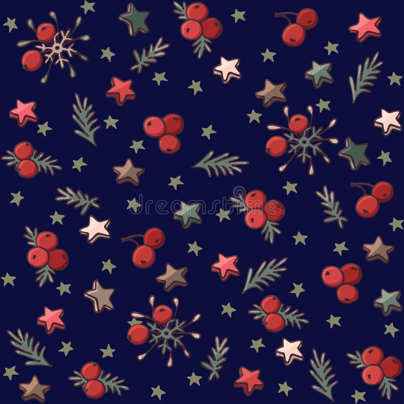 Christmas pattern with spruce branches, stars and berries vector illustration