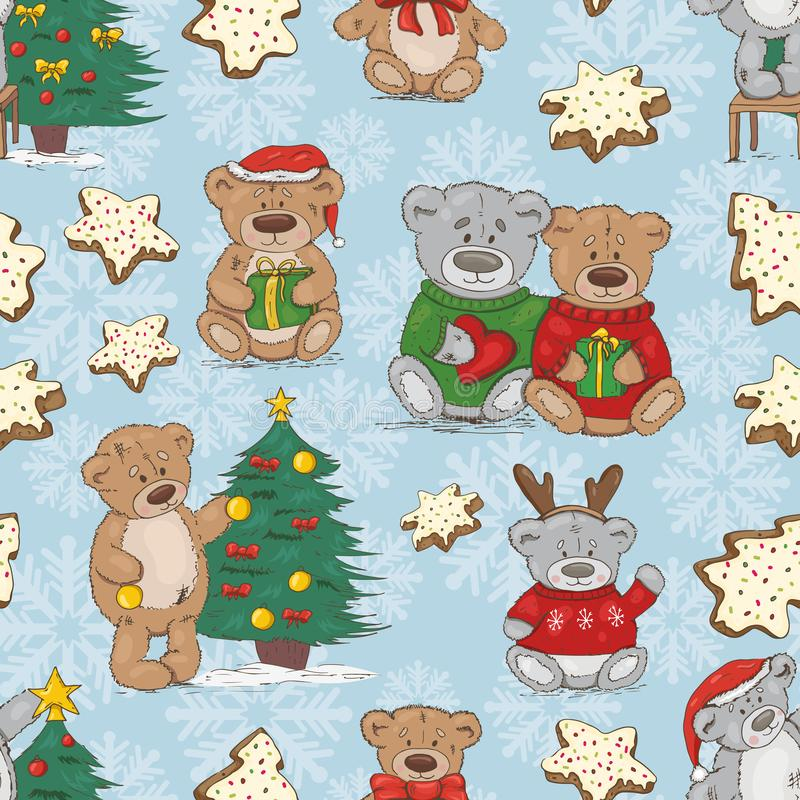Christmas pattern with teddy bears and cookies vector illustration
