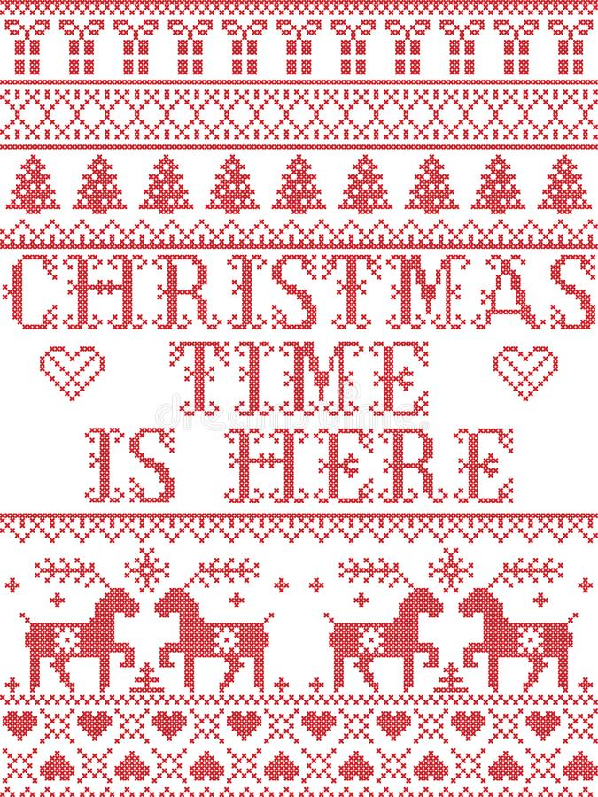 Christmas pattern Christmas time is here carol seamless pattern inspired by Nordic culture festive winter in cross stitch. With heart, snowflake, snow stock illustration