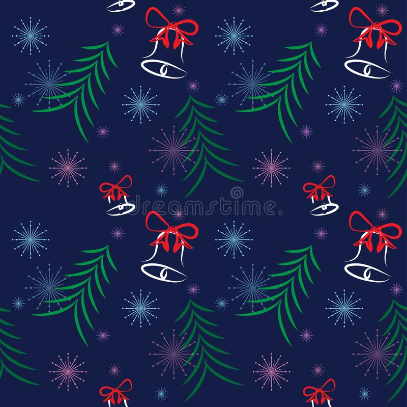 Christmas pattern tree elements bell snowflake star blue background royalty free stock image