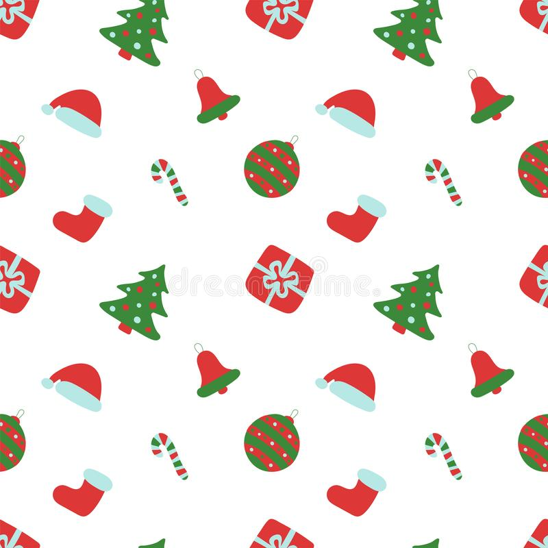 Free Christmas Pattern. Winter Holiday Wallpaper. Seamless Texture For The New Year. Santa Claus Cap, Tree, Bag, Gift, Stick, Bell And Royalty Free Stock Photo - 157988255