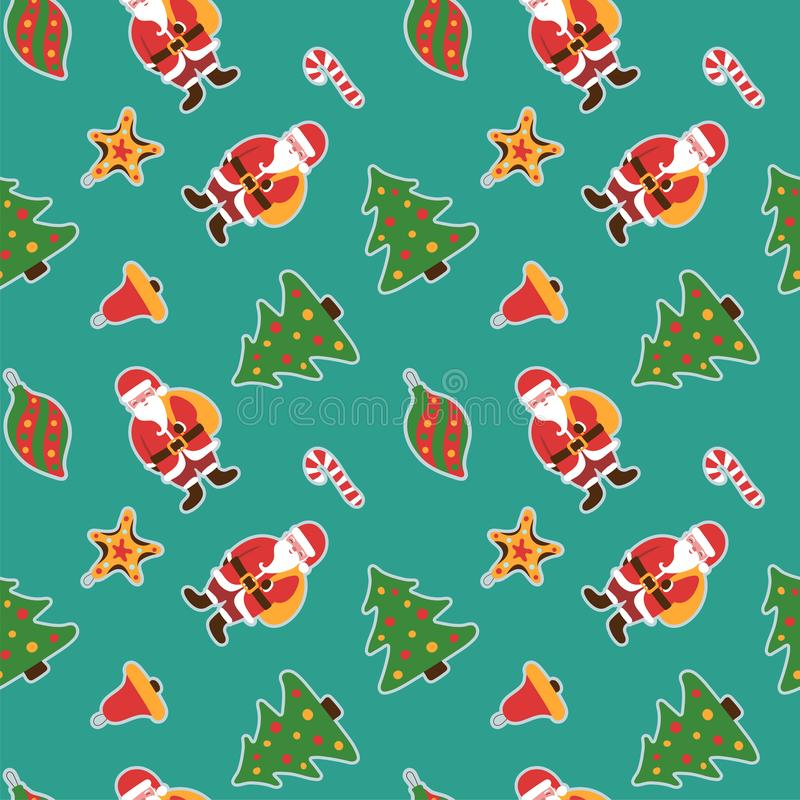 Christmas pattern. Winter holiday wallpaper. Seamless texture for the New Year. Santa Claus with a bag of gifts. Christmas decorat vector illustration