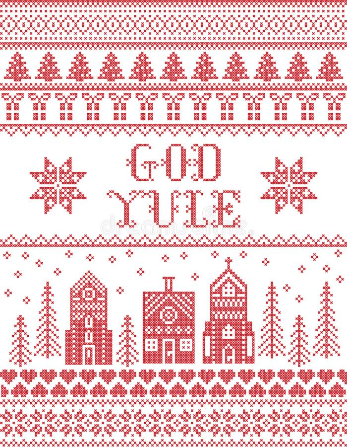 Christmas pattern with winter wonderland village God Yule seamless pattern inspired by Nordic culture festive winter. In cross stitch with heart, snowflake royalty free illustration
