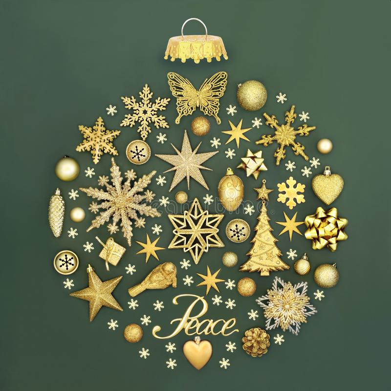 Christmas Peace Sign and Decorations royalty free stock images
