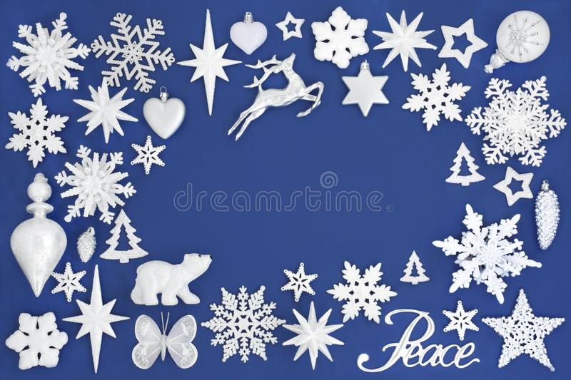 Christmas Peace Background Border on Blue stock images